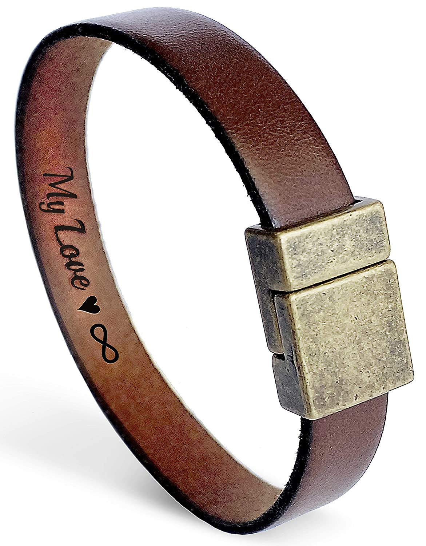 Hand Engraved Water Buffalo Brown Leather Bracelet Men/'s Bracelet with Secret Love Message Love Message Brown Bracelet Leather Bracelet