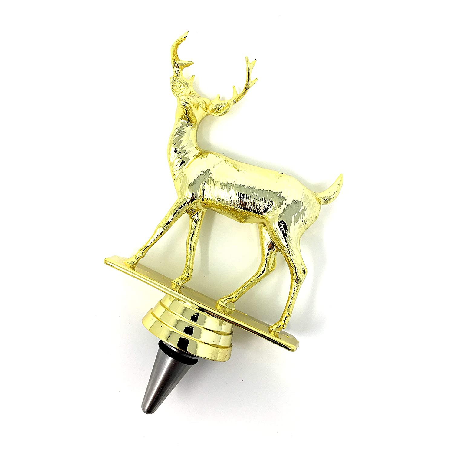 Buck Deer Wine Bottle Stopper - Handmade with Stainless Steel Base and Repurposed Trophy Top