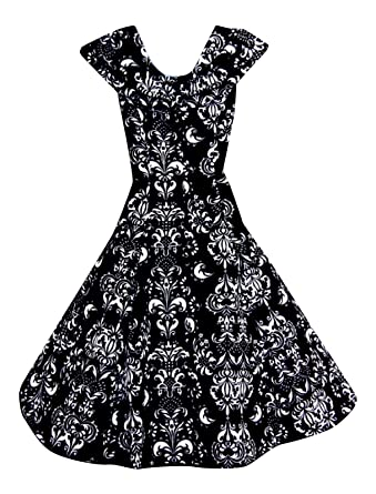 Ladies 1940s 1950s Vintage Style Shawl Collar Baroque Print Party Prom Dress ...