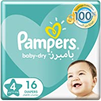 Pampers Baby-Dry Diapers, Size 4, Maxi, 9-14kg, Carry Pack, 16 Count