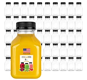 Stock Your Home Plastic Juice Bottles 8 Oz with Lids, Juice Drink Containers with Caps for Juicing Smoothie Drinking Cold Beverages, 8 Oz Bottles with Caps, 100 Count