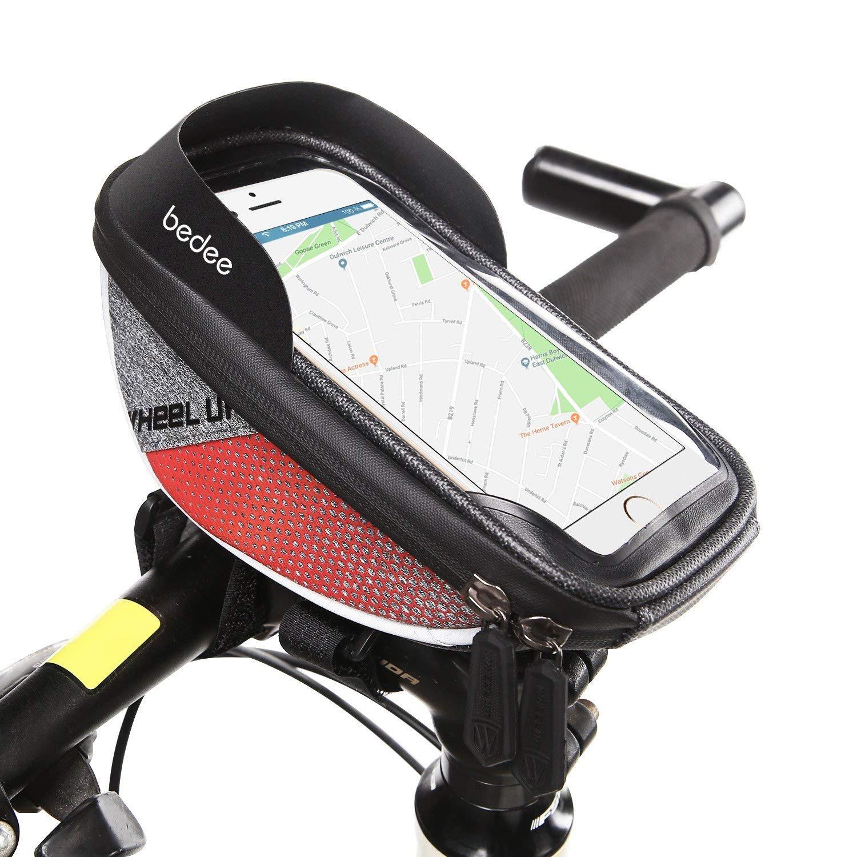 bedee Borsa Telaio Bici, 6 inch con TPU Touch-screen Porta Cellulare Bici, Borsa Impermeabile da Manubrio per Biciclette, Borse Biciclette Supporto Bici MTB BMX (Nero)