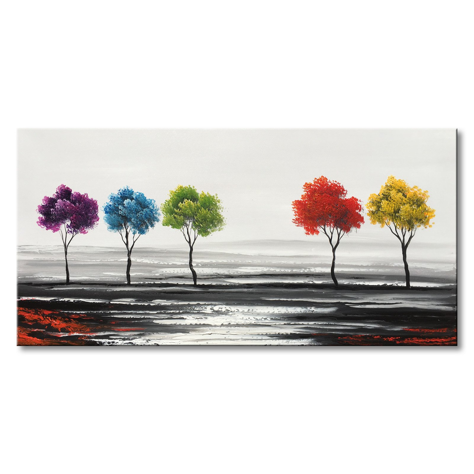 Handmade Colorful Tree Oil Painting on Canvas Modern Abstract Large Landscape Wall Art for Living Room by Winpeak Art
