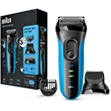 Braun Series 3 3010BT Shaver and Beard Trimmer , 3-in-1 Wet and Dry Electric Razor with Precision Trimmer, Black/Blue
