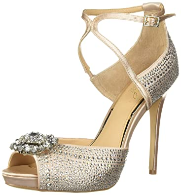 6de17a54fb33 Badgley Mischka Jewel Women s Zaina Heeled Sandal Champagne Satin 10 ...
