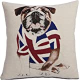 EHC British Bulldog Union Jack Chenille Cushion Cover, Red/ White/ Blue