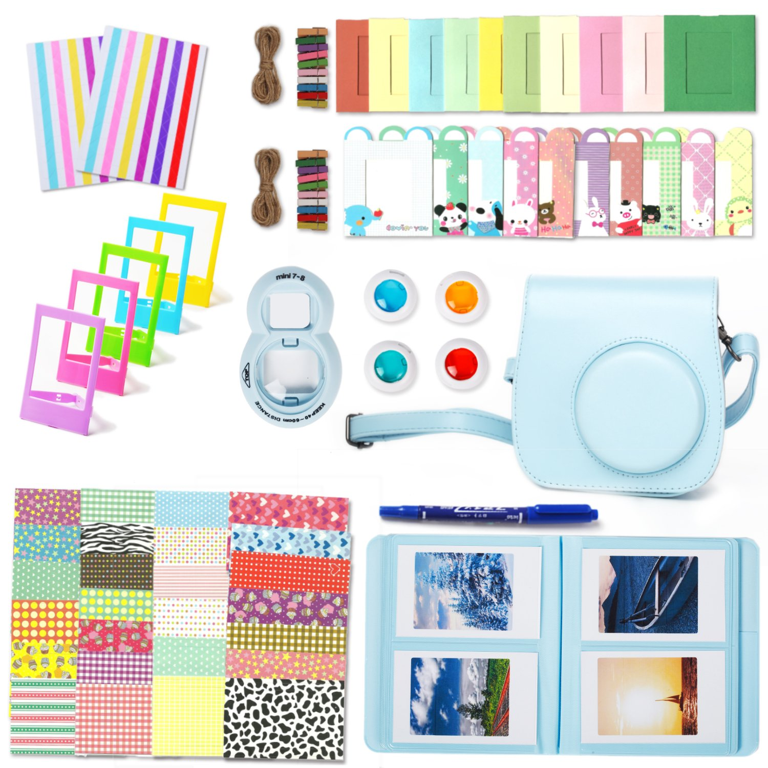 Leebotree Camera Accessories Compatible with Fujifilm Instax Mini 9 or Mini 8 8+ Include Case/Album/Selfie Lens/Filters/Wall Hang Frames/Film Frames/Border Stickers/Corner Stickers/Pen(Blue)