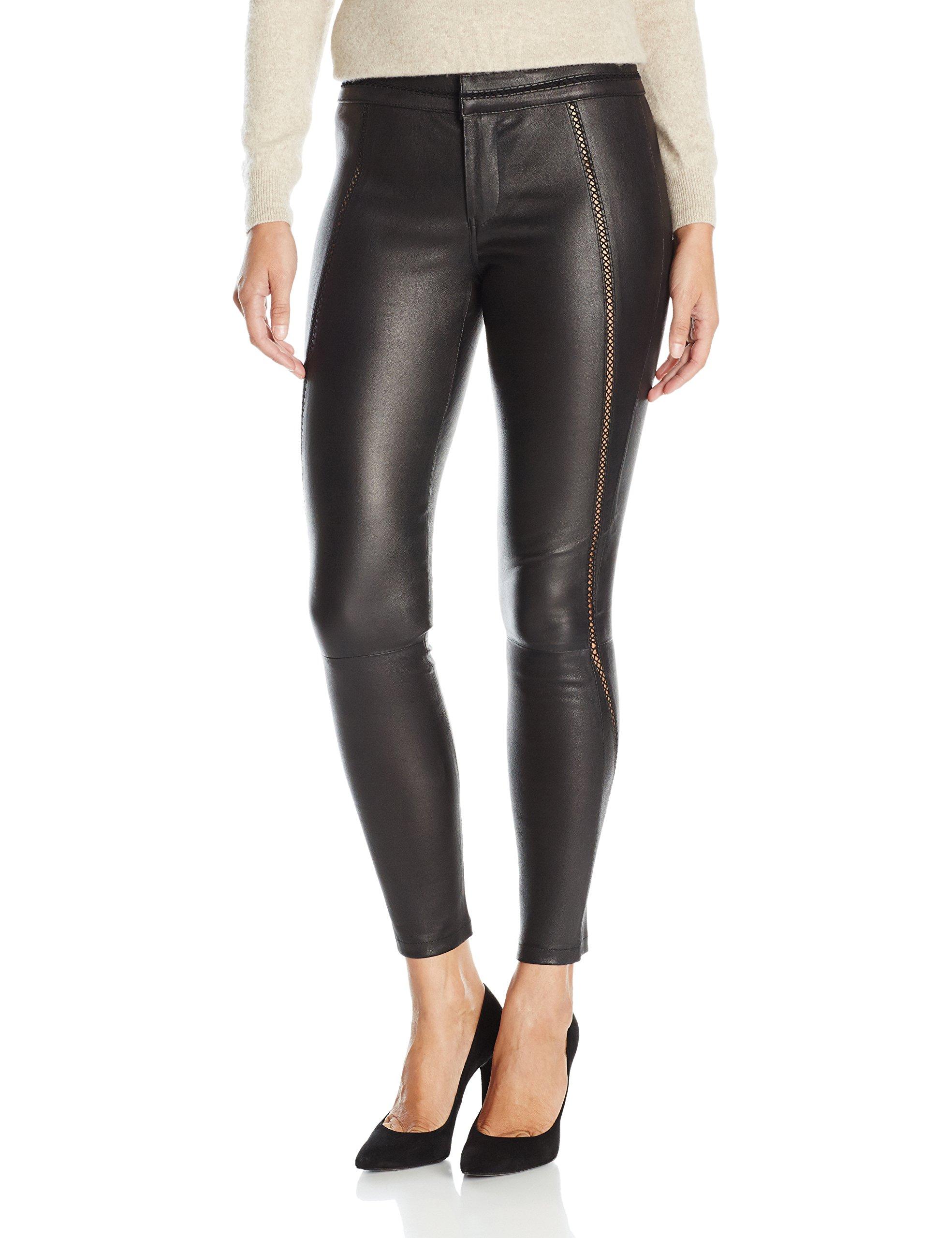 David Lerner Women's Stitched Leather Legging, Black, M