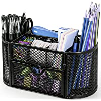 Desk Organizer Mesh Desktop Office Supplies Multi-functional Caddy Pen Holder Stationery with 8 Compartments and 1…