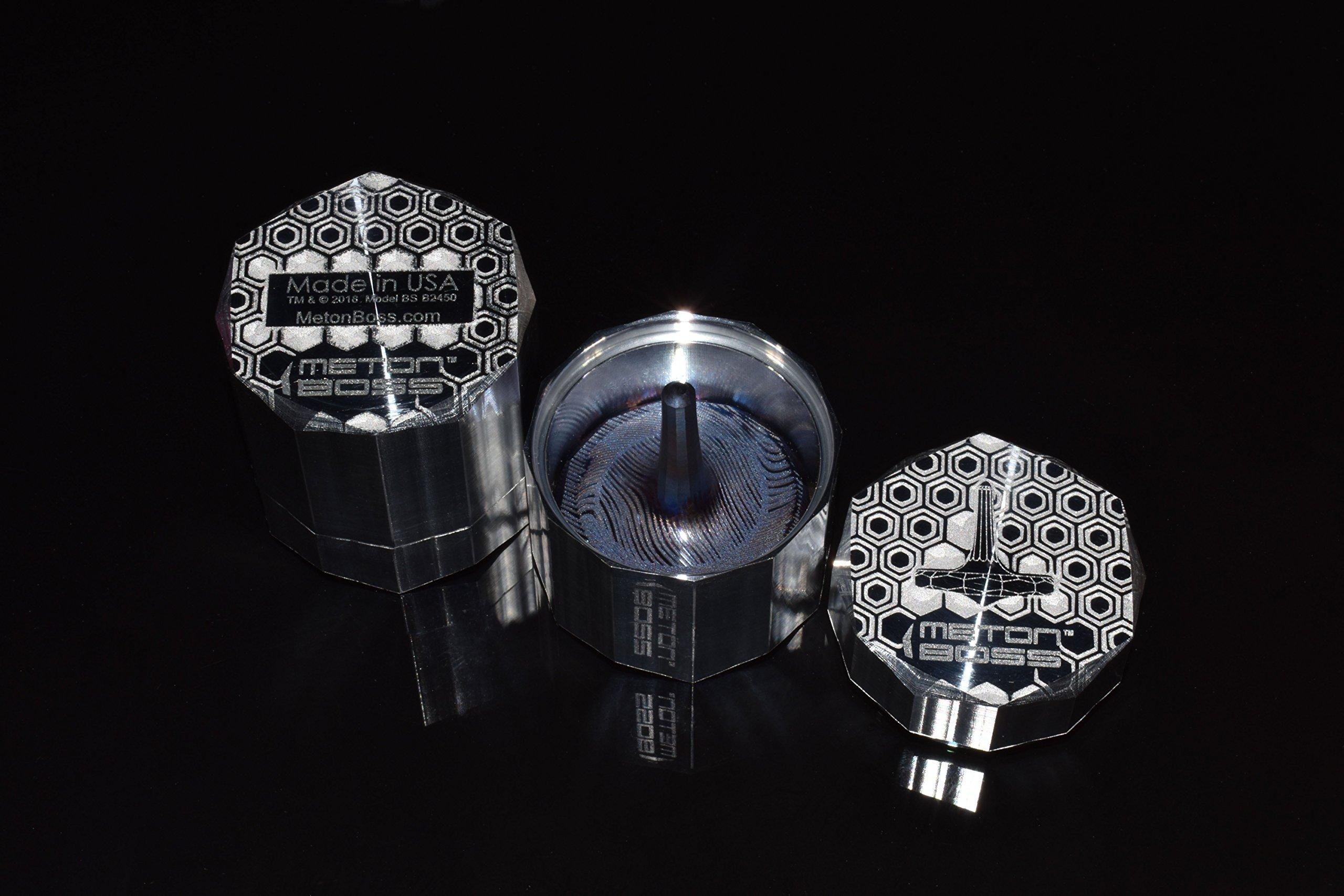MetonBoss Damascus Wave Titanium Spinning Top - Aerospace Grade 5 Titanium (Heat Colored Purple) by MetonBoss (Image #6)