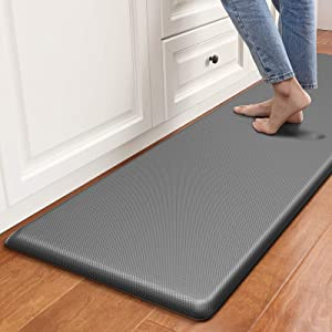 """DEXI Anti Fatigue Comfort Mat Kitchen Rug, 3/4 Inch Cushioned Memory Foam Floor Mat for Kitchen, Sink and Office Standing Desk, 70""""x20"""", Grey"""