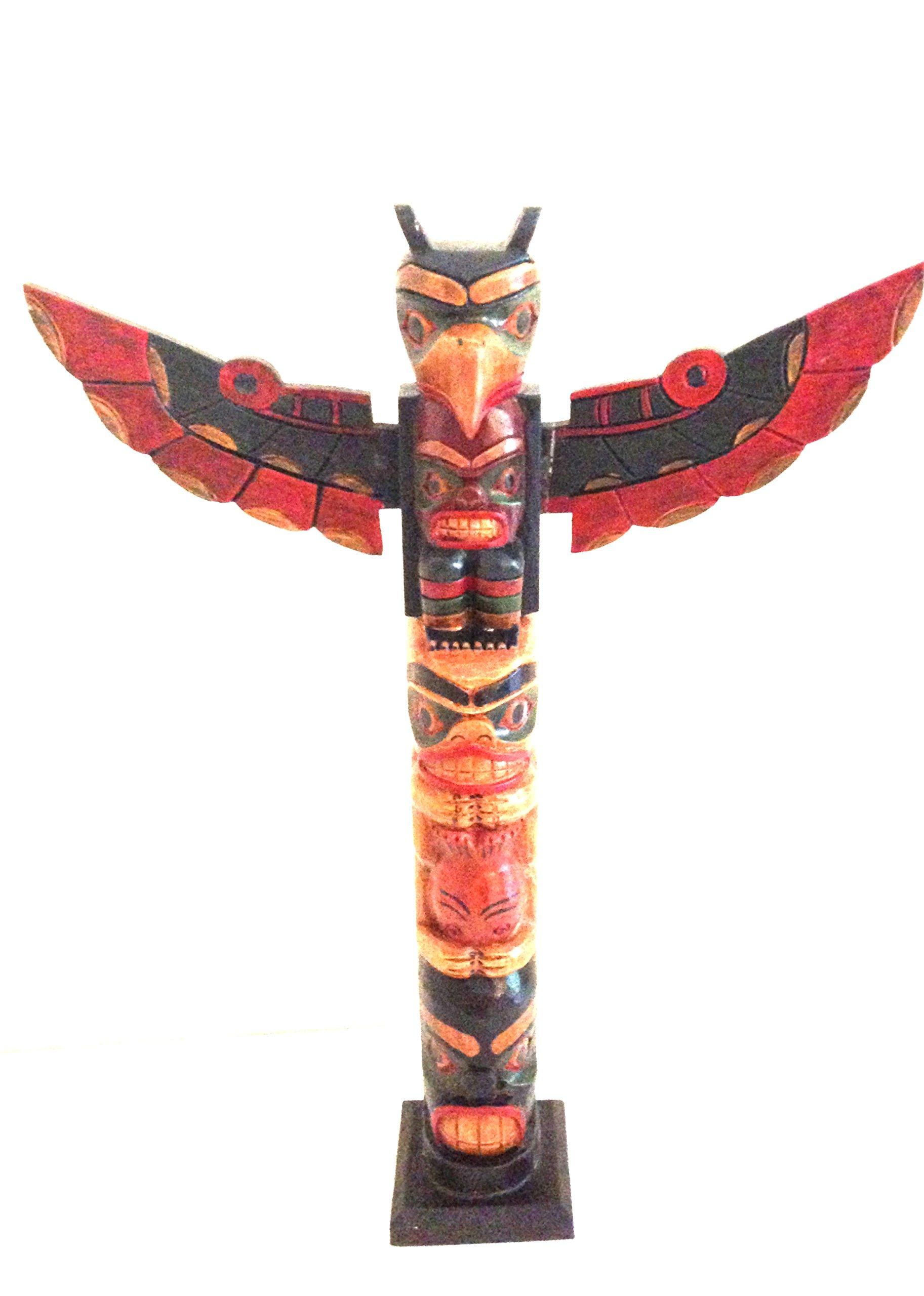Totem Pole Native American Northwest Polyneisan Style Wood Totem - LARGE, OMA BRAND
