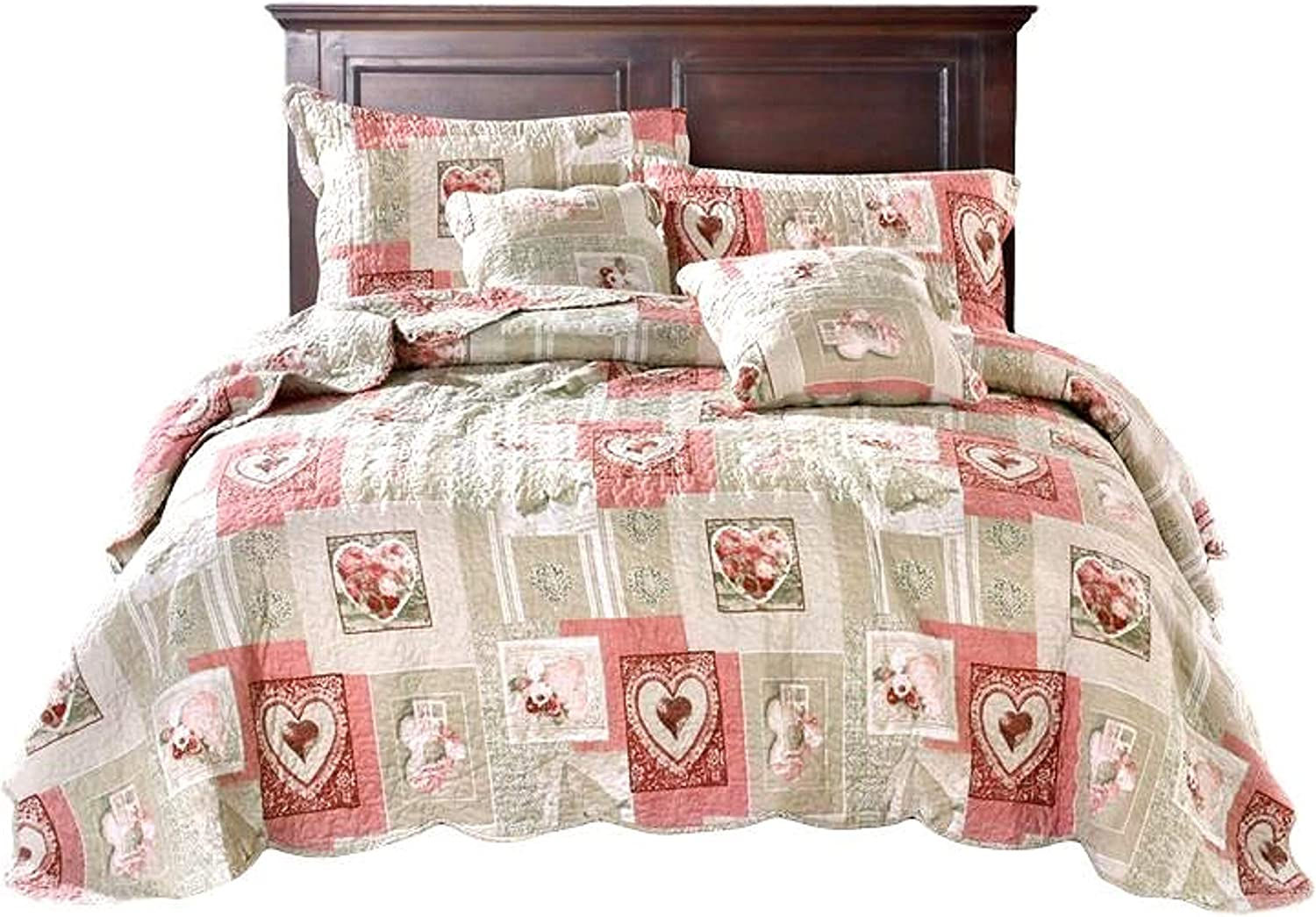 Tache Home Fashion Dainty Sweetheart Cottage Patchwork Quilted Coverlet Bedspread Set - Bright Vibrant Scalloped Multi Colorful White Red Pink Floral Print - Full