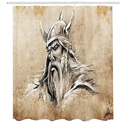 Viking Shower CurtainSketch Style Scandinavian Warrior With Beard And Hat Masculine Figure Portrait Tattoo