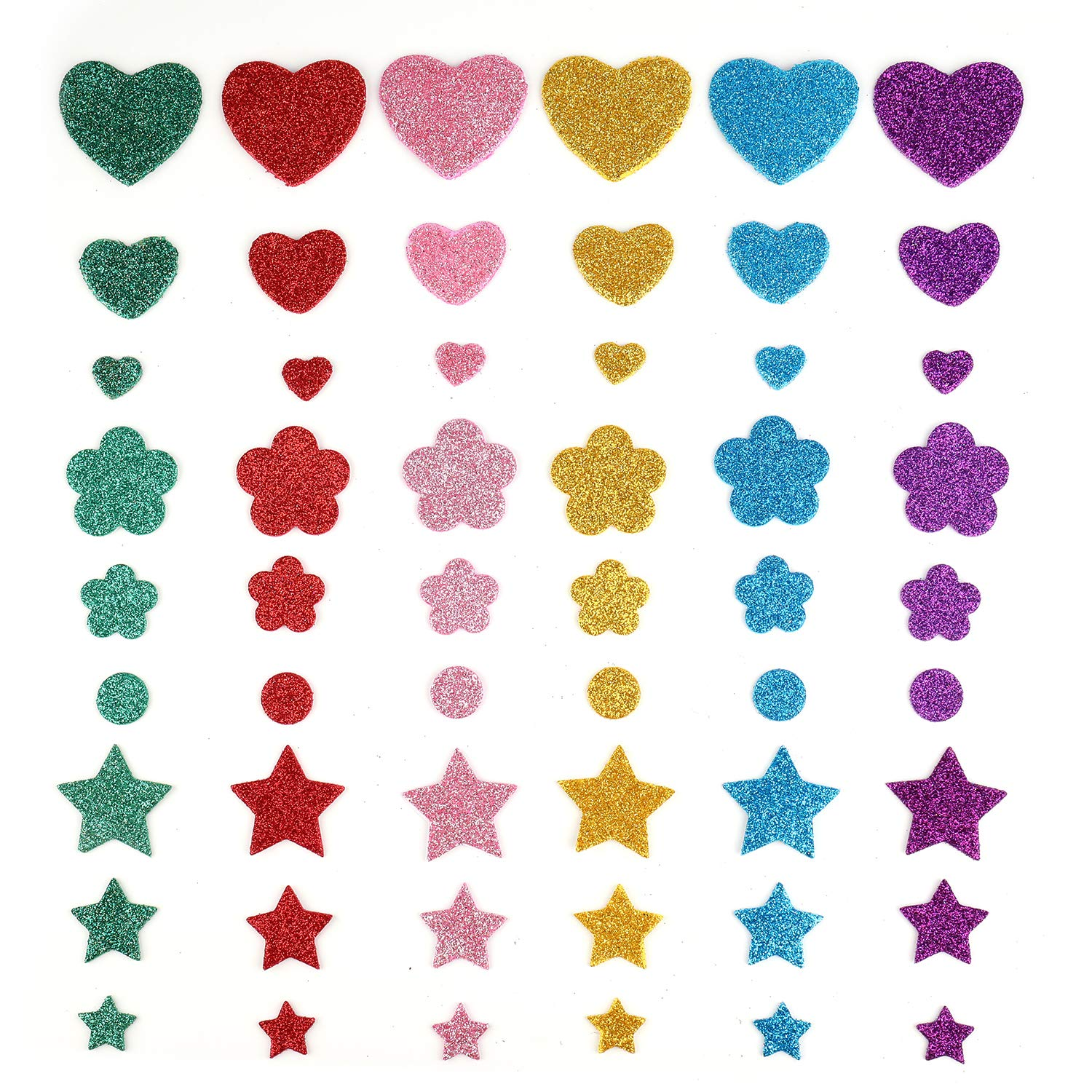 Heart and Flower Stickers for Kids Tosnail 280 Pieces Colorful Glitter Foam Stickers Star Assorted 3 Styles