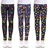 slaixiu 3-Pack Printing Flower Girls Stretch Leggings Kids Ankle Length Pants 4-13Y
