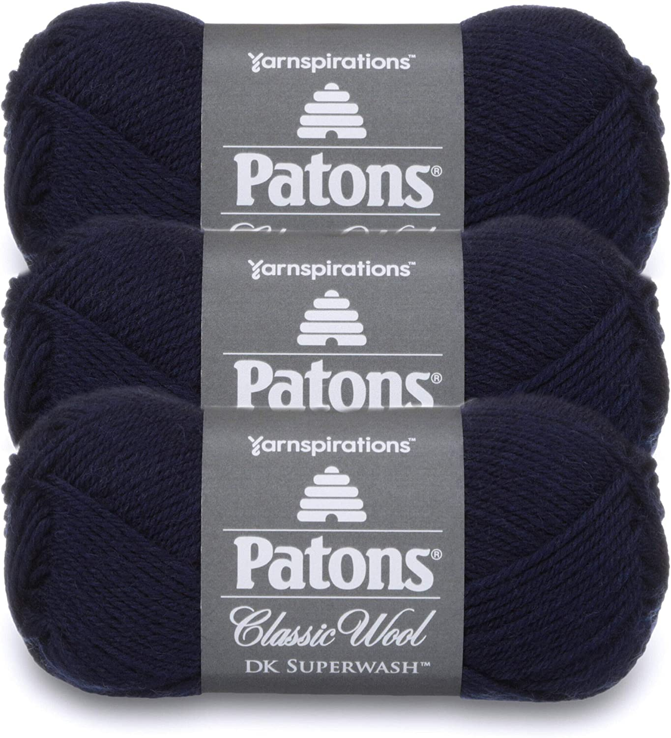 Patons Classic Wool DK Superwash Yarn - Gauge 3 Light - 100% Wool - (3-Pack) - Navy - for Crochet, Knitting, and Crafting