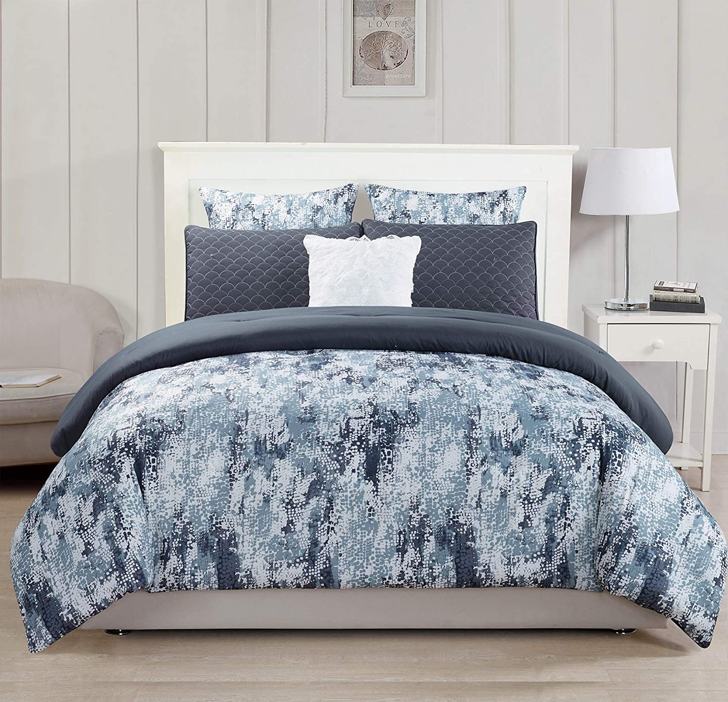 6PC Spring Flower with Leaves Printed Floral Oversize+Overfilled Comforter Set