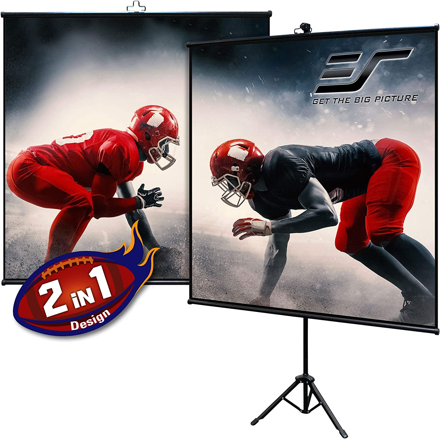Elite Screens Tripod Lite Wall Series 2 In 1 Portable Projector Screen Dual Tripod Stand Wall Mount Indoor Outdoor 50 Inch 1 1 W Carrying Bag T50sw Black Electronics