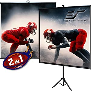 Elite Screens Tripod Lite Wall Series | 2 in 1 Portable Projector Screen Dual Tripod Stand/Wall Mount Indoor/Outdoor 50-INCH, 1:1 w/Carrying Bag | T50SW, Black
