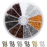 AIEX Screw Eye Pins Hooks Eyelets Screw Threaded for Jewelry Making Findings DIY Crafts, 6 Colors, 600 PCS