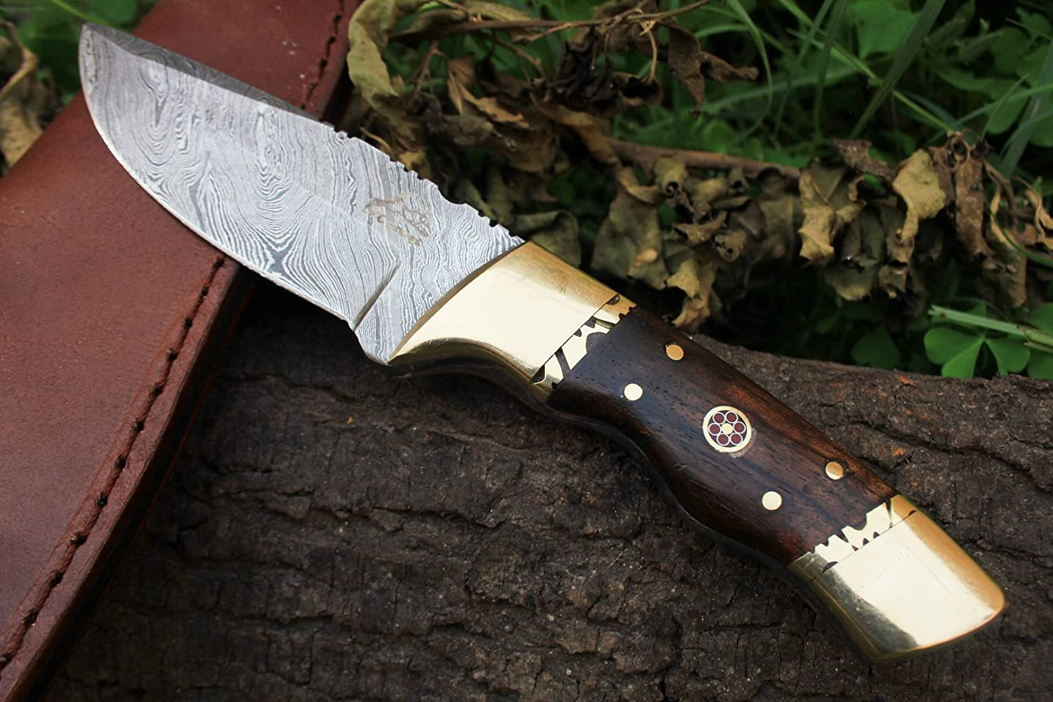 15 4 4 18 Sale DKC-523 Gold Finch Damascus Hunting Handmade Knife Fixed Blade 9oz oz 8 Long 3.75 Blade