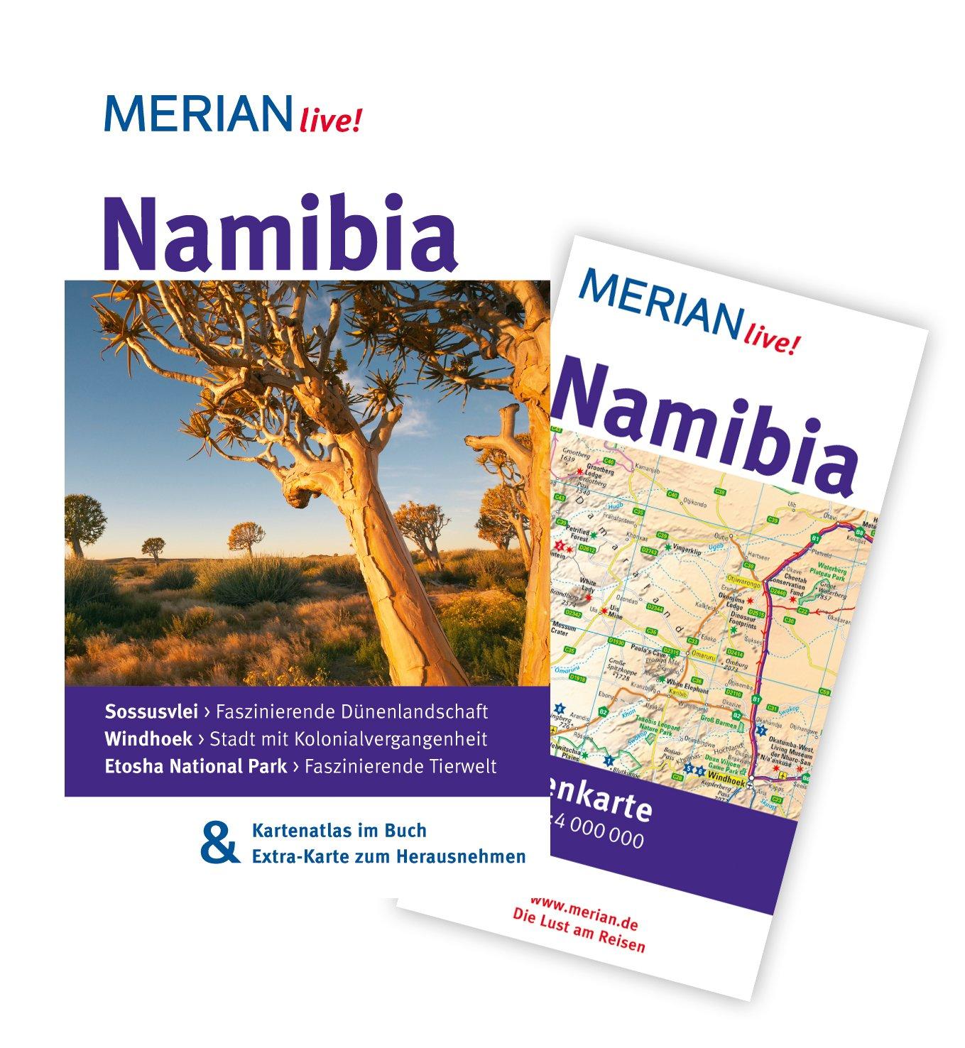 MERIAN live! Reiseführer Namibia: Mit Kartenatlas im Buch und Extra-Karte zum Herausnehmen