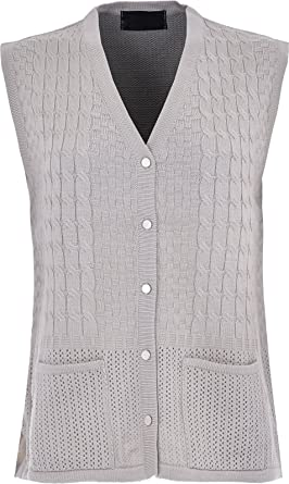 0323b94500a31 Maan Store Womens Sleeveless Cardigan Knitted Top Front Pockets   Amazon.co.uk  Clothing