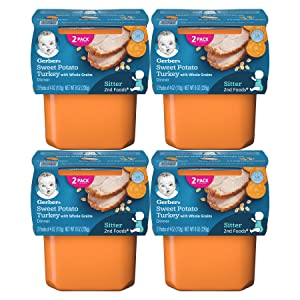 Gerber Stage 2 Baby Food Tubs, Sweet Potato Turkey, 8 Ounce (Pack of 4)