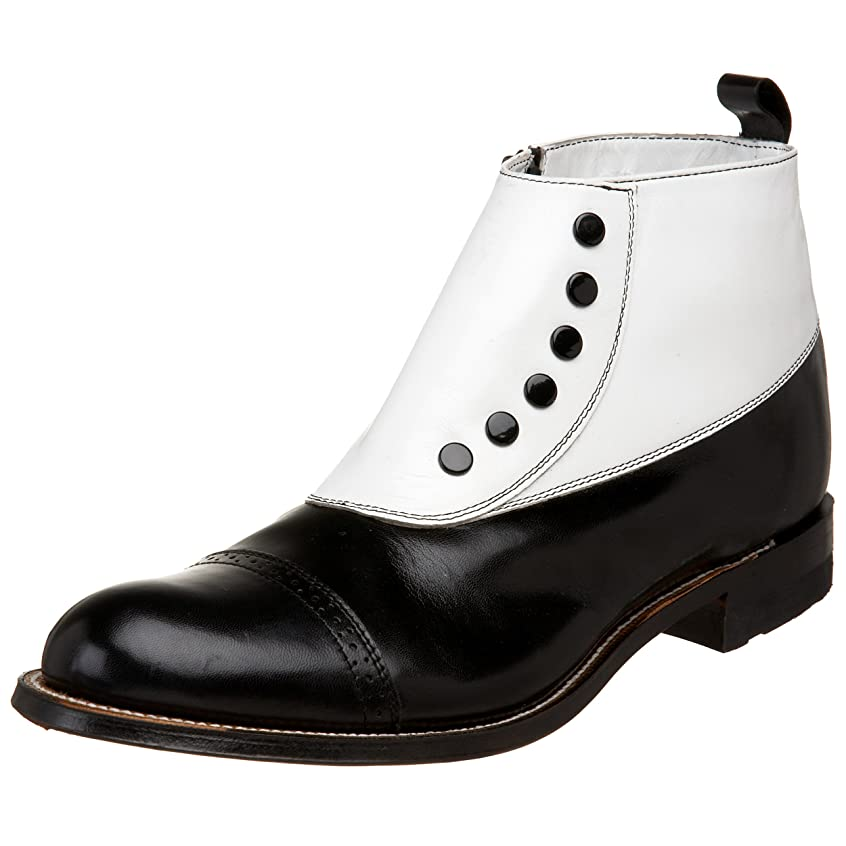Edwardian Men's Shoes- New shoes, Old Style Stacy Adams Mens Madison Cap-Toe Spat Boot $134.95 AT vintagedancer.com