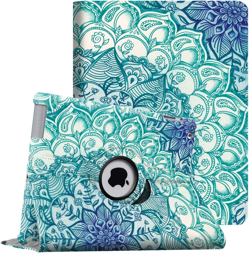 Fintie Rotating Case for iPad 4th Generation (2012 Model), iPad 3rd Gen (2012 Model), iPad 2 (2011 Model) 9.7 inch Tablet - 360 Degree Rotating Smart Stand Cover Auto Wake/Sleep, Emerald Illusions