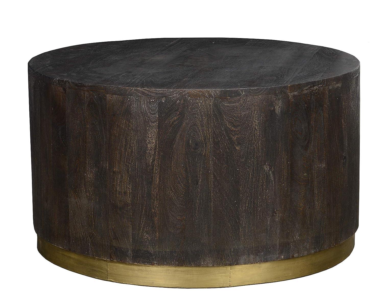 Benjara Bm195714 Mango Round Coffee Table With Distressed