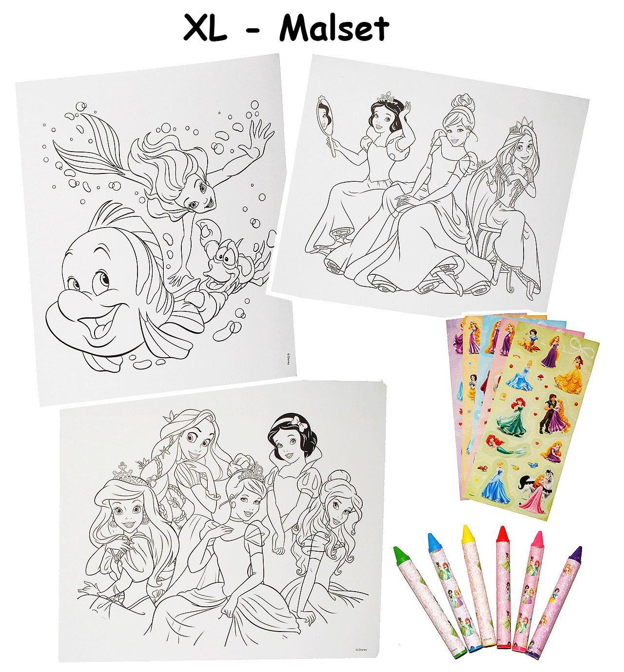 XL Malset / Zeichenset - Disney Prinzessin - mit 6 Wachsmalstifte + ...