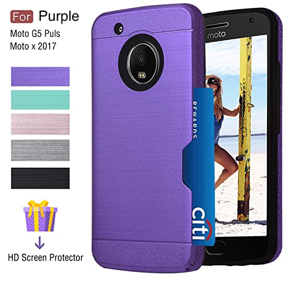 finest selection c7af9 44abd Moto G5 Plus Case,Moto X 2017 Case With Card Holder,Atump Built-in [HD  Screen Protector] Armor[Brushed Metal Texture] Dual Layer Protective Cover  ...