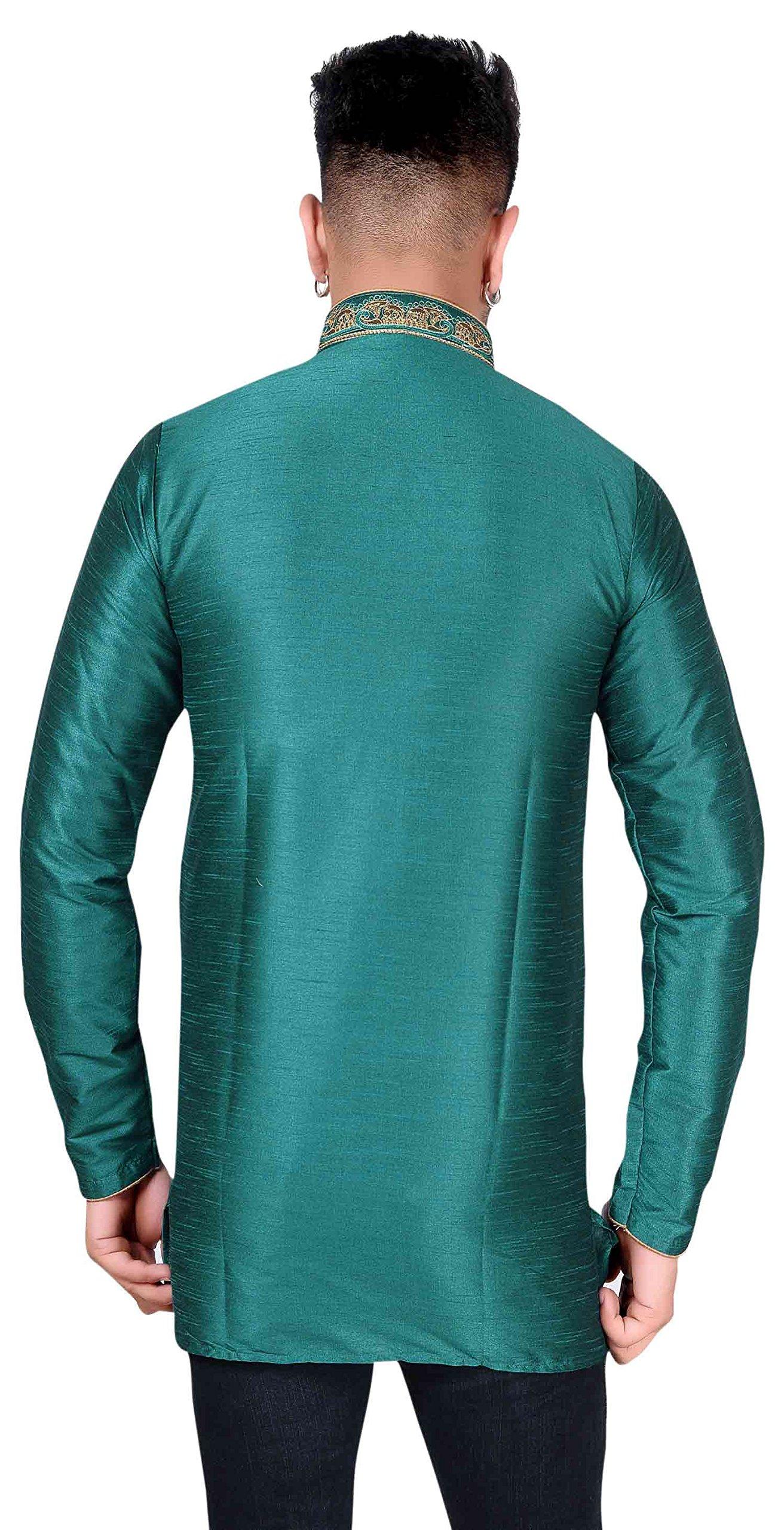 Men's Kurta Bollywood Party Wear Short Shirt 2006 (XXXL (Chest- 46 inches), Teal) by Desi Sarees (Image #2)
