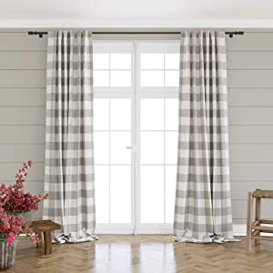 """Barnyard Designs Buffalo Plaid Window Curtain Panels for Kitchen, Living Room, Bedroom, Grey and Ivory Gingham Check Rod Pocket Curtains, Farmhouse Country Home Decor, 52"""" x 96"""
