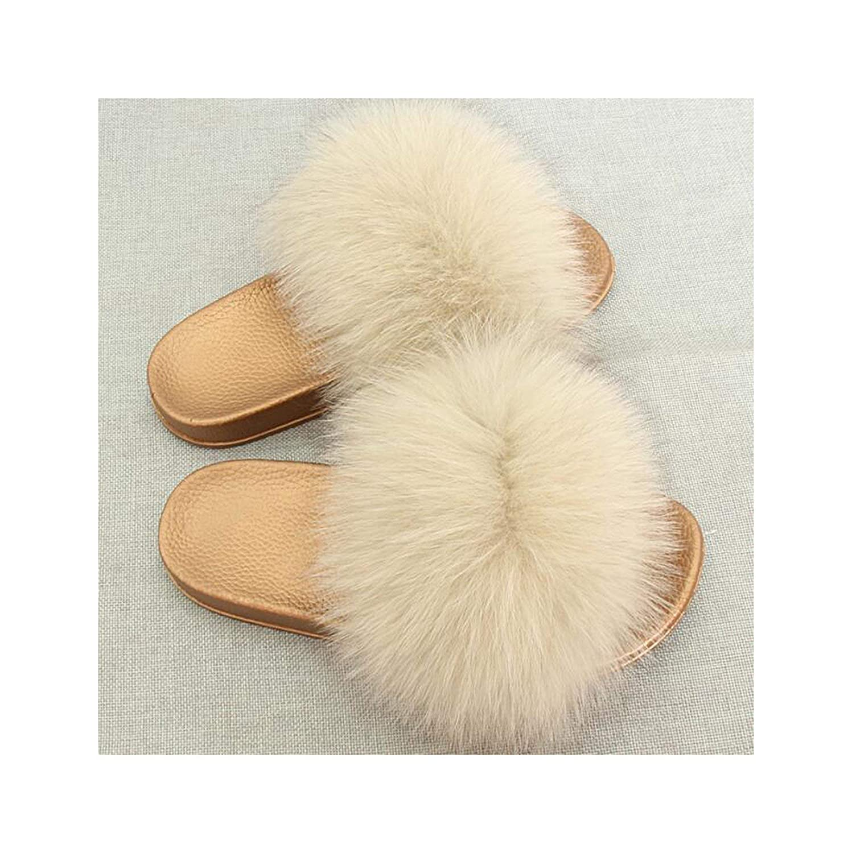 9 Zalin Women's Summer Genuine Fox Fur Slippers PVC Flat Indoor Non-Slip Slippers Furry Slippers