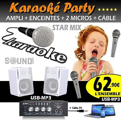 Karaoke Pack 2 altavoces + amplificador USB Bluetooth + 2 micros + ...