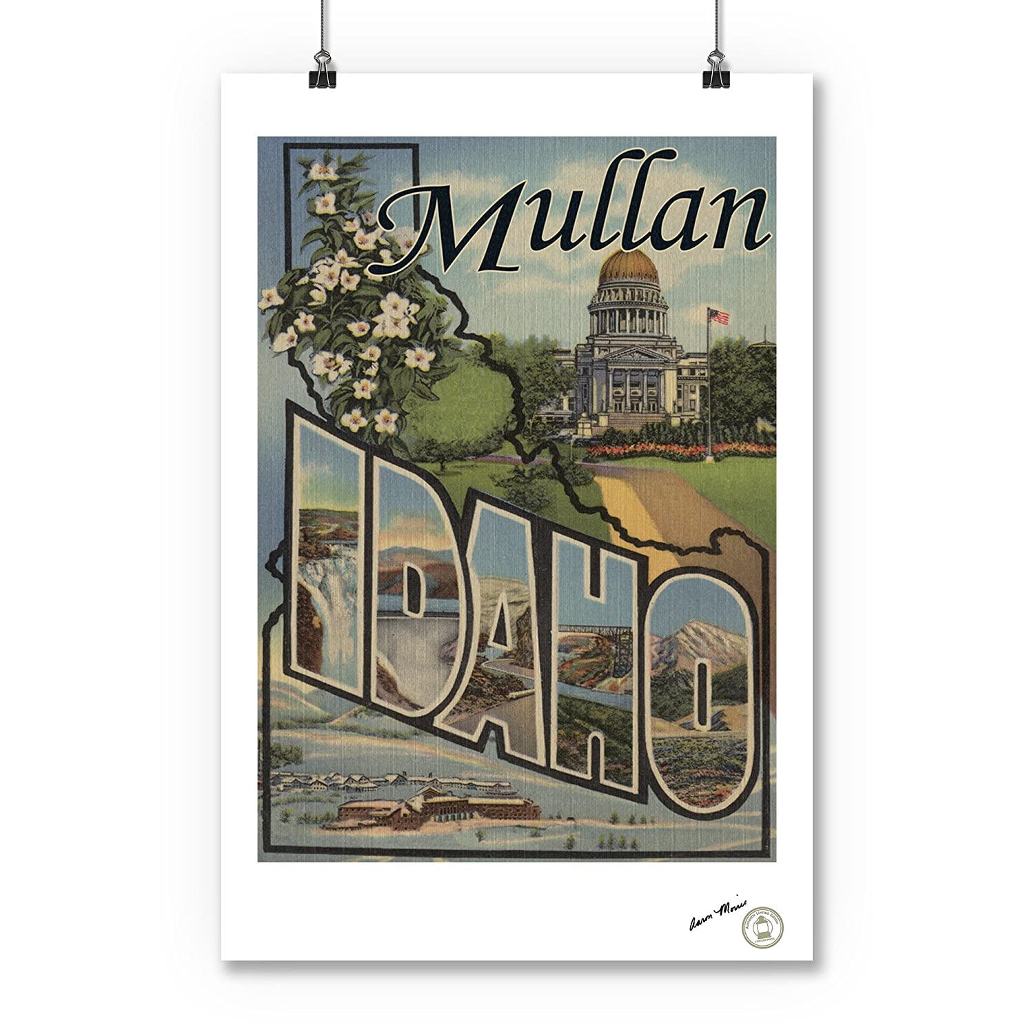 Large Letter Scenes Mullan Idaho 24x36 Giclee Gallery Print, Wall Decor Travel Poster