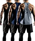 Tesla Men's 3 Pack Workout Muscle Tank Sleeveless Y-Back Gym Training Cool Dry Top