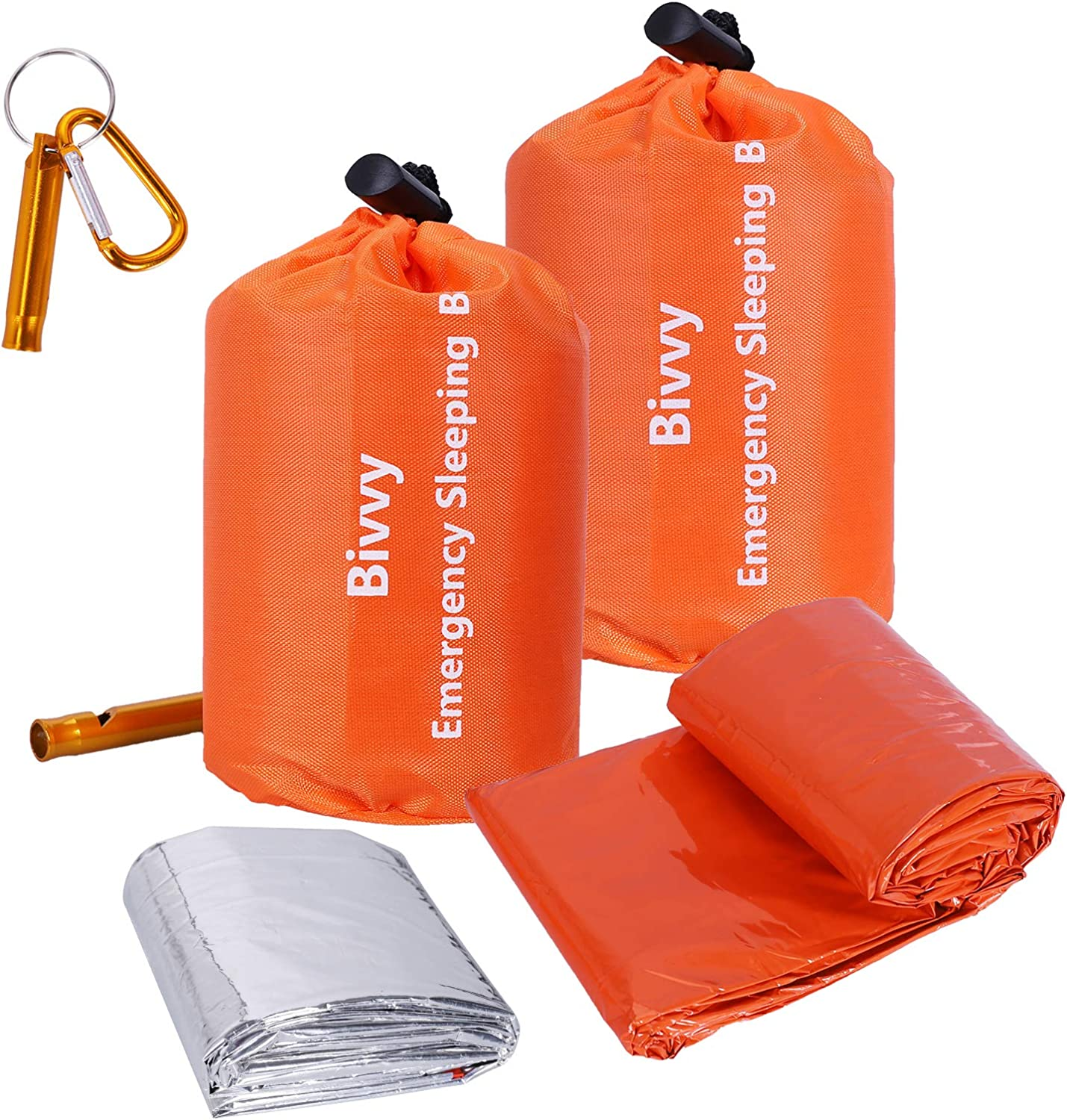 Xtextile 2Pack Emergency Sleeping Bags Lightweight and Compact Sack Survival Sleeping Bag Waterproof Thermal Emergency Blanket Survival Gear for Outdoor Camping, Hiking, Wild Adventures : Sports & Outdoors
