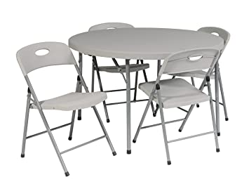 Office Star Resin 5 Piece Folding Chair And Table Set, 4 Chairs And 4