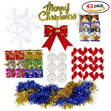 christmas tree ornament set of 43 tree decorations included merry christmas letter cards snow globe bowknot - Christmas Letter Decorations