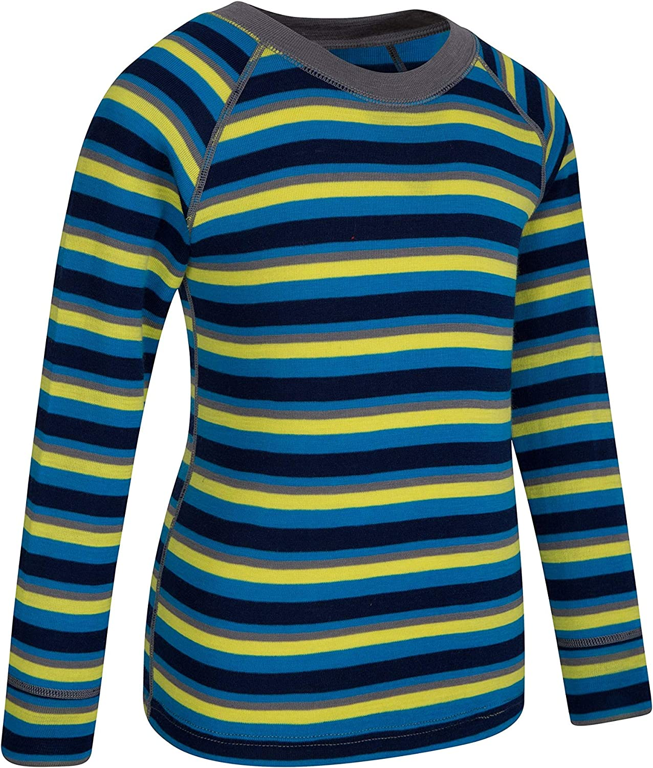 Round Neck Childrens Tee Ideal Shirt While Camping in Cold Weather Mountain Warehouse Merino Kids Thermal Baselayer Top Lightweight Tshirt Breathable