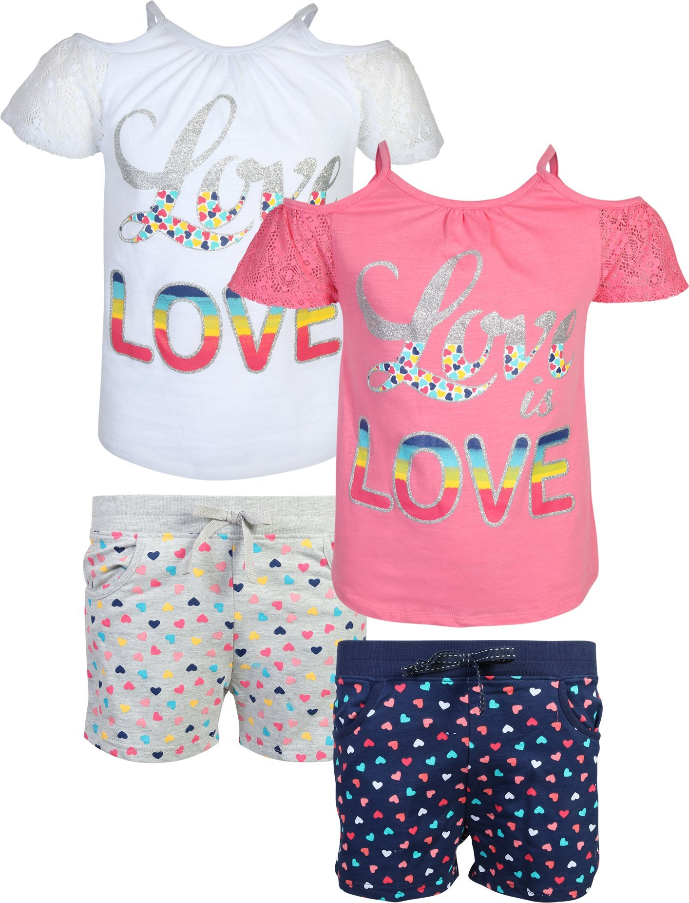 Real Love Girl's 4-Piece French Terry Short Sets, Love is Love, Size 5/6'