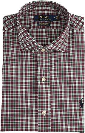 Polo Ralph Lauren Mod. 710767398 Camisa Popelín Stretch Custom Fit Hombre Burdeos S: Amazon.es: Ropa y accesorios