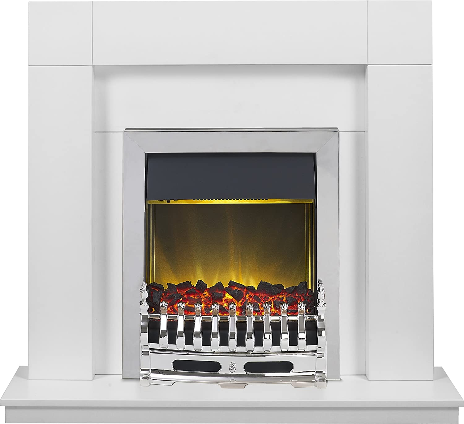 Adam Malmo Fireplace Suite in Pure White with Blenheim Electric Fire in Chrome, 39 Inch