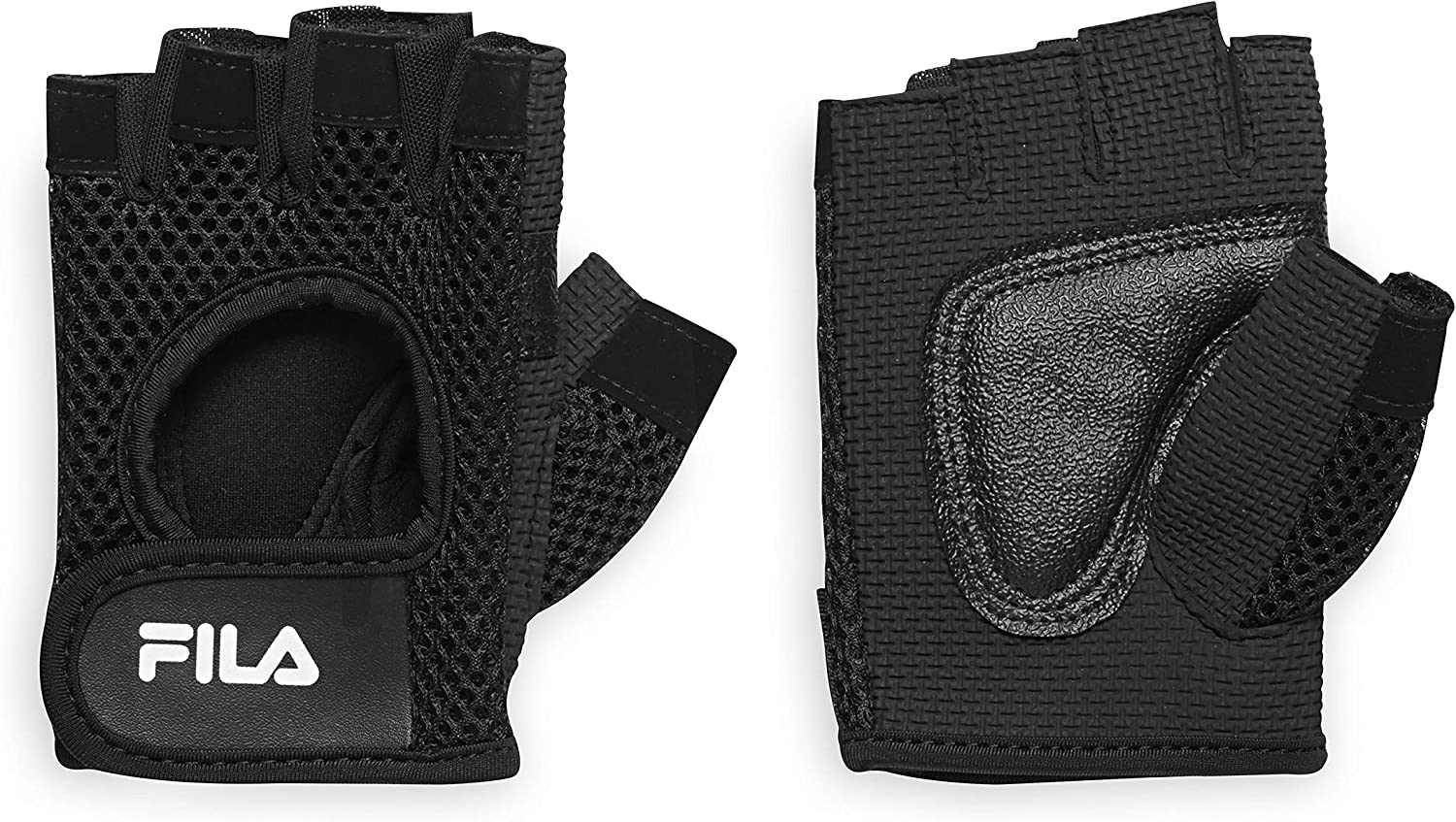 FILA Accessories Exercise Gloves - Classic Fitness Workout Gloves for Men & Women | Padded Palm Breathable Mesh | Ideal for Weightlifting, Floor Gym Routines and More (Small/Medium), Black
