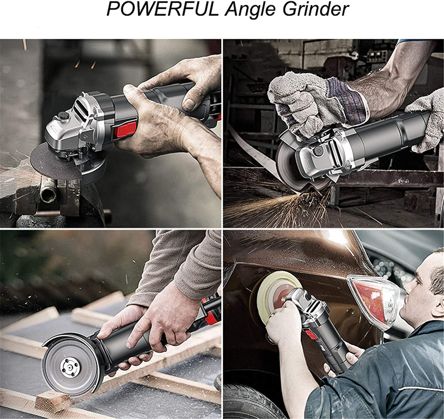 Side Handle 4-Inch Grinder Tool JFGUOYA Angle Grinder Cutting Includes 4Pcs Grinding Wheel and 10Pcs Cutting Wheel for Removing Paint /& Mortar Sanding Grinding