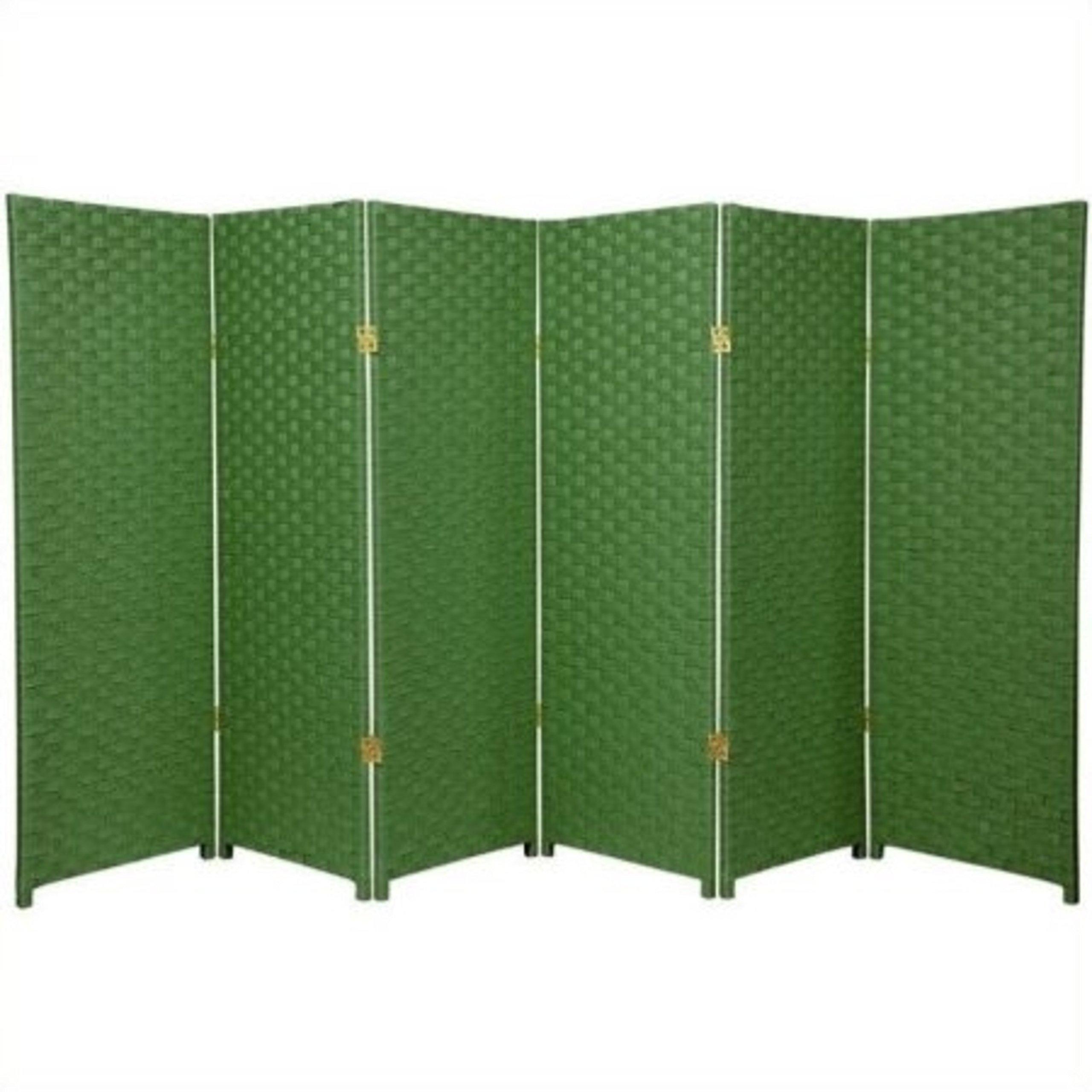 Natural Plant Fiber Woven Room Decor Light Green 6 Panels Divider